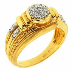 0.20 Cttw G VS Appraised Round Brilliant Diamonds Cocktail Ring 14K Yellow Gold #Cocktail #Diamond #Ring #Appraised #Certified #14K #Yellow #Gold #NYCJewelers
