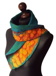 Nuno Felted Collar Colorful Felt Scarf Art to wear Yellow Red