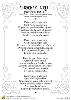 Les paroles de la chanson « Douce nuit, Sainte nuit » à décorer avec des couleurs