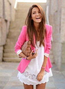 I love this whole outfit...and I really really really want that pink blazer!