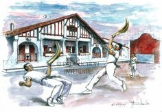 Josette Terreau-Lamalle: aquarelle : Partie de pelote basque au fronton de GUÉTHARY / GETARIA