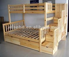 Love the stairs going up, good storage and likely safer than a ladder--( WJZ-B55 ) solid pine wood queen size bunk beds Guest room perfect!