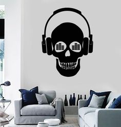 Wall Stickers Vinyl Decal Skull Music in Headphones z1162