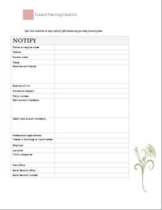 Worksheet Funeral Planning Worksheet funeral planning words and on pinterest checklist at word documents com