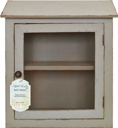 Distressed Wooden Two Tier Wall Cabinet / Wall Shelves and Mesh Wire Door