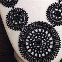 Beaded Net disc necklaces #zulu #craft #art #design #decor #jewelry #tradition #culture #beads #net #SouthAfrica (at www.inkosazane.tumblr.com)