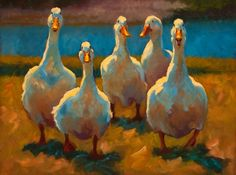 """Duck Dynasty"" oil painting of five ducks by Texas artist Cheri Christensen"