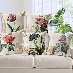 Set of 5 Country Style Flowers Patterned Cotton/Linen Decorative Pillow Cover 2017 - $43.49