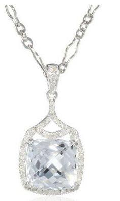 Badgley Mischka White Topaz and White Diamonds Pendant Necklace