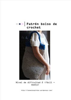 Un Patron para hacer un bonito BOLSO de trapillo de dos colores.  PATTERN bag Crochet Pattern. PDF. por Malespintes, $2.62