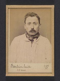 Barbier. Émile, Alphonse. 36 ans, né à Paris. Peintre en bâtiment. Anarchiste. 26/2/94. | Artist: Alphonse Bertillon
