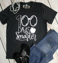 Happy 100th Day of School T Shirts, 100th Day Teacher Shirt, 100 Days Smarter, Teacher 100 Days, Teacher Shirts, Gift for Teacher by SimplyStylishCo on Etsy