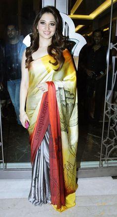 Tamannaah Bhatia in Hot Colorful Saree at Lakme Fashion Week 2015 Indian Beauty Saree, Indian Sarees, Satya Paul Sarees, Black And White Saree, Lakme Fashion Week 2015, Satin Saree, Sari Blouse Designs, Stylish Sarees, Fancy Sarees