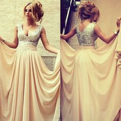 V-neck Prom Dress with All over Beaded Bodice, Champagne V-back Prom Dresses, Chiffon Prom Dress with Belt, #02016329