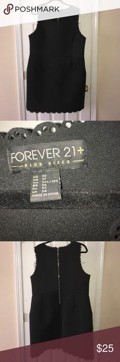 Forever 21 Black Scuba Dress 3X scuba black dress with scalloped details. Forever 21 Dresses Midi