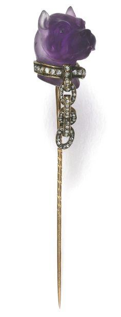 Amethyst & Diamond stick pin, 1880s
