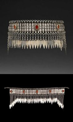 Iran | Headdress ornament  ~ sinsile ~ from the Turkmen people; silver and carnelians | ca. early 20th century. // ©Quai Branly Museum. 71.1991.281.237