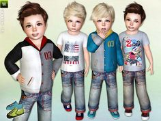 Fleece Hoodie, Printed T-shirt, Jeans and Sneakers for Toddler Boys by Lillka - Sims 3 Downloads CC Caboodle