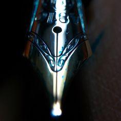 #Montblanc #146 #fountainpen nib closeup with #HonoreDeBalzac #ink  #fountainpens #pens #fpgeeks #stationary #Belomo #loupe