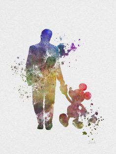 "Walt Disney walking with Mickey Mouse ART PRINT 10 x 8"" illustration, Disney, Mixed Media, Home Decor, Nursery, Kid"