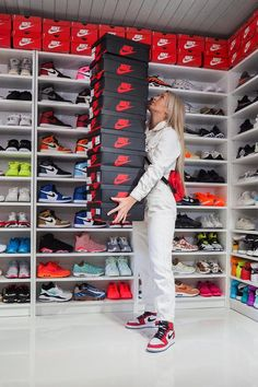 Nike Shoe Closet - Best Picture Of Closet Shoe Wall, Shoe Room, Shoe Closet, Sneakers Mode, Sneakers Fashion, Jordan Sneakers, Jordan Shoes Girls, Jordan Outfits, Nike Air Shoes