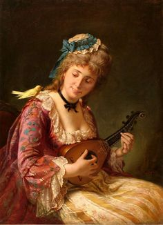 Woman with Lute century). Michele Gordigiani (Italian, Also known as Girl with Canary. Gordigiani first studied at the Academy in Florence under Giuseppe Bezzuoli, then Luigi Norcini. Classic Paintings, Old Paintings, Contemporary Paintings, Music Painting, Renaissance Paintings, Italian Painters, Victorian Art, Classical Art, Portraits