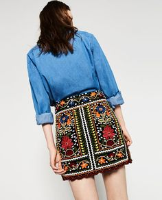 Image 3 of FLORAL EMBROIDERED SKIRT from Zara