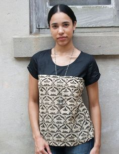 Short Sleeve Black-and-Cream Floral Shirt | Passion Lilie - Love Justly ethical fashion - ethical brands - ethical clothing - ethical companies - ethical wardrobes - affordable ethical clothing - affordable fair trade fashion - fair trade brands