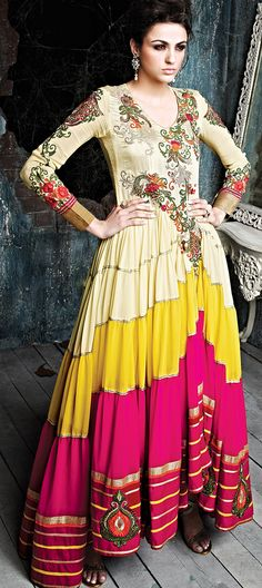 423313: MULTICOLOR - this #anarkali will make you the most beautiful bride ever.  #floral #embroidery #sale #partywear #IndianFashion #panels #onlineshopping #ethnicwear