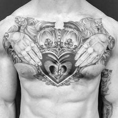 50 Claddagh Tattoo Designs For Men - Irish Icon Ink Ideas Cool Chest Tattoos, Chest Piece Tattoos, Face Tattoos, Body Art Tattoos, Sleeve Tattoos, Cool Tattoos, Men Tattoos, Wolf, Irish Claddagh Tattoo