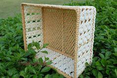 BasketMedium sizeMacrameWeaving basketRectangular by CraftingMode