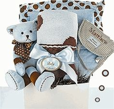 If your searching for a luxurious gifts for a special new baby boy...look no further!  Our deluxe baby gift box is stuffed with unique luxury baby boy gifts! It makes a unique baby gift for the sophisticated new mom who has everything!