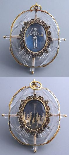 """Rock crystal pendant, shaped as a locket with two views, gold-mounted. On one side is a scene of Golgotha, composed of small figures in carved ivory. The other is an exceptional """"memento mori"""", showing a skeleton in enamelled gold, a hand holding the hourglass of Time and the other a deadly arrow. Milan, late 16th century - early 17th century. #GoldJewellery16ThCentury"""