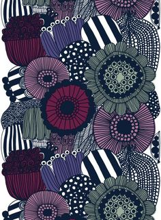Siirtolapuutarha heavyweight cotton (white, violet, grey) | Fabrics, Cottons | Marimekko