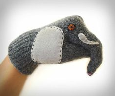 These warm wool gloves double as a puppet.