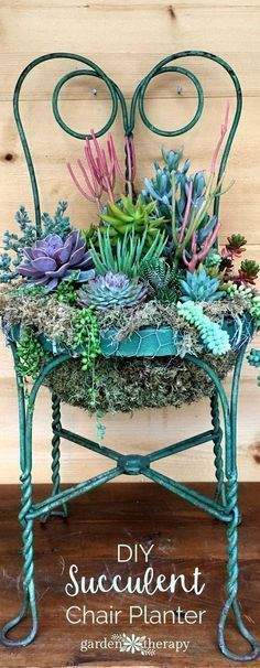 See how to upcycle an old chair into a beautiful piece of garden art for any size garden: a succulent chair planter. #GardenChair