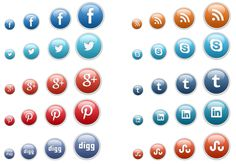 Here is vector of social media icons for website. You can download psd and icons in 4 different sizes