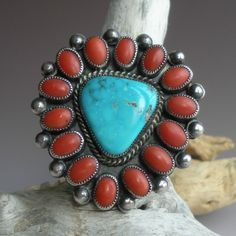 Ring | Artist ? (Navajo). Sterling silver, coral and turquoise.