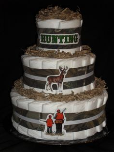 Hunting Camo Theme Diapercake by DiapercakeGiftsNMore on Etsy, $28.00