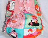 all in 2 diaper (AI2), by Fluffy Duff hemp snap-in petal soaker hello, tokyo cat  Coupon code PIN10 for 10% off, November-December, 2014!