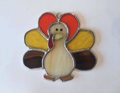 Handmade Stained Glass Turkey Suncatcher by QTSG on Etsy