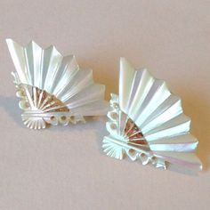 Mother of pearl asian fan clip ons - cute!