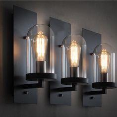 Vintage rétro fer clair mur de verre industriel noir métal corps applique murale, Comptoir de bar restaurant mur luminaire
