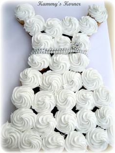 Kammy's Korner: Bridal shower cake: wedding dress cupcakes
