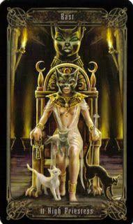 Templo de gato egipcio y su faraona