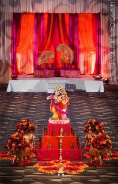 Suhaag Garden, Fort Lauderdale Marriott Coral Springs Hotel, Golf Club & Convention Center, Florida Indian Wedding Decorator, Mehndi Stage, Sangeet Stage, Paisley Backdrop, Colorful Drapery, Bride and Groom Seating, Garba Focal Point, Radha Krishna, Rangoli