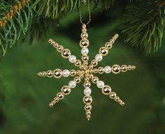 Perlenstern Weiß 14 cm Weihnachtsschmuck Kristall