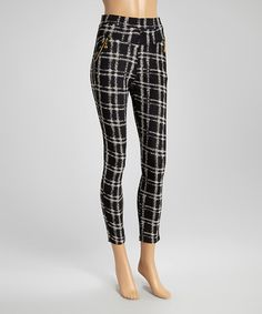 Another great find on #zulily! Black & White Plaid Zipper Skinny Pants #zulilyfinds