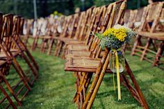 via style me pretty, photo credit: Eldad Efendi Photography Yellow Wedding, Farm Wedding, Wedding Events, Rustic Wedding, Dream Wedding, Lilac Wedding, Wedding Bells, Flowers In Jars, Pew Flowers