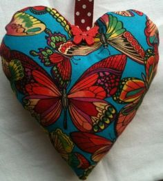 Butterfly Fabric Heart Shaped Lavender Bag - Handmade